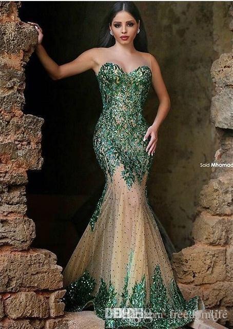 Arapça Stil Zümrüt Yeşil Mermaid Abiye Seksi Sheer Ekip Boyun El Sequins Zarif Dedi Mhamad Uzun Balo Abiye Parti giymek