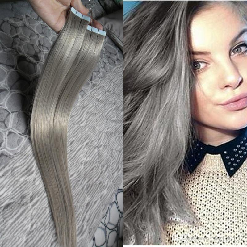 Silver Hair Extensions Wholesale Skin Weft Tape In Human Hair