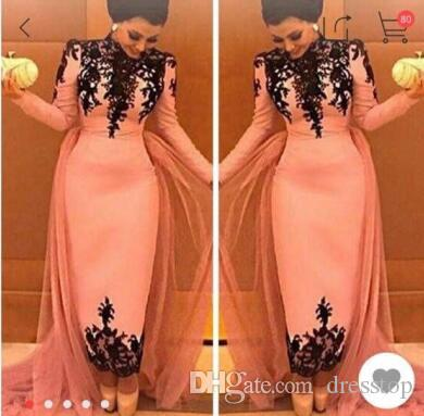 b2618e39a032b 2017 High Neck Elegant Black Lace Appliques Evening Dresses Dubai Middle  East Formal Party Gowns Special Occasional Dress