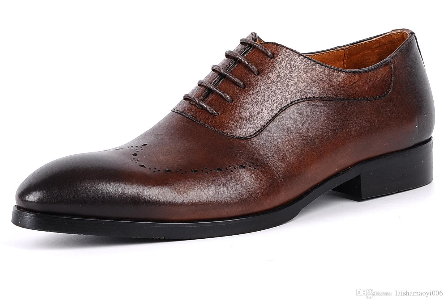 2017 Fashion Brown Black mens wedding shoes Ponited Toes Grooms Shoes Casual Genuine Leather shoes for men Party Business groomsmen