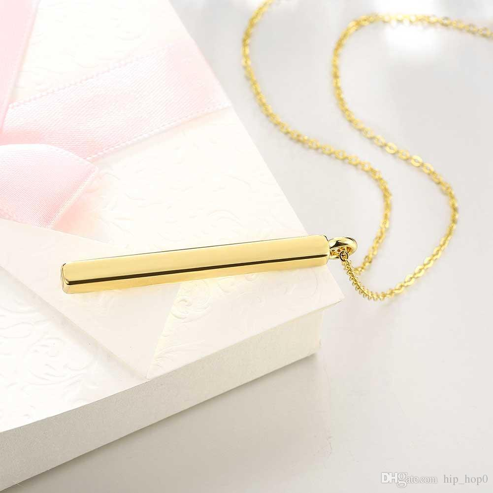 Extreme Simplicity Long Strip Pendant Necklace European and American Popular 18K Gold Plated Nickle Not Antiallergic Romantic Necklaces