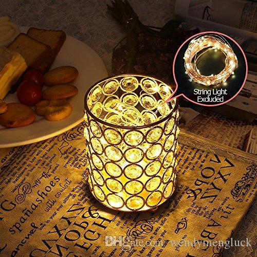 Cylinder Crystal Candle Holders Table Centerpieces Bowl Tealight Candlesticks Birthday Holiday Home Decoration Glass Vases Vintage Stand