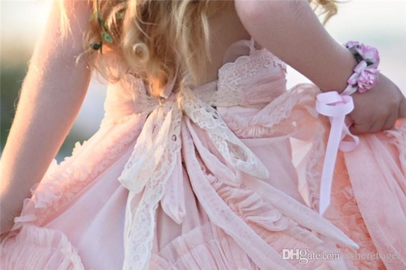 맞춤 제작 된 핑크 꽃 여자 드레스 웨딩 2019 레이스 아플리케 프 뤼 클 아이들 공식웨어 민소매 롱 비치 여자 미인 가운