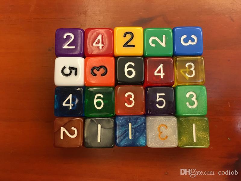 Cristal D6 16mm Dice Square Corners Transparente Digital Dices Brinquedo Jogo Educacional Multi Colorido Dices Beber Jogos # F15
