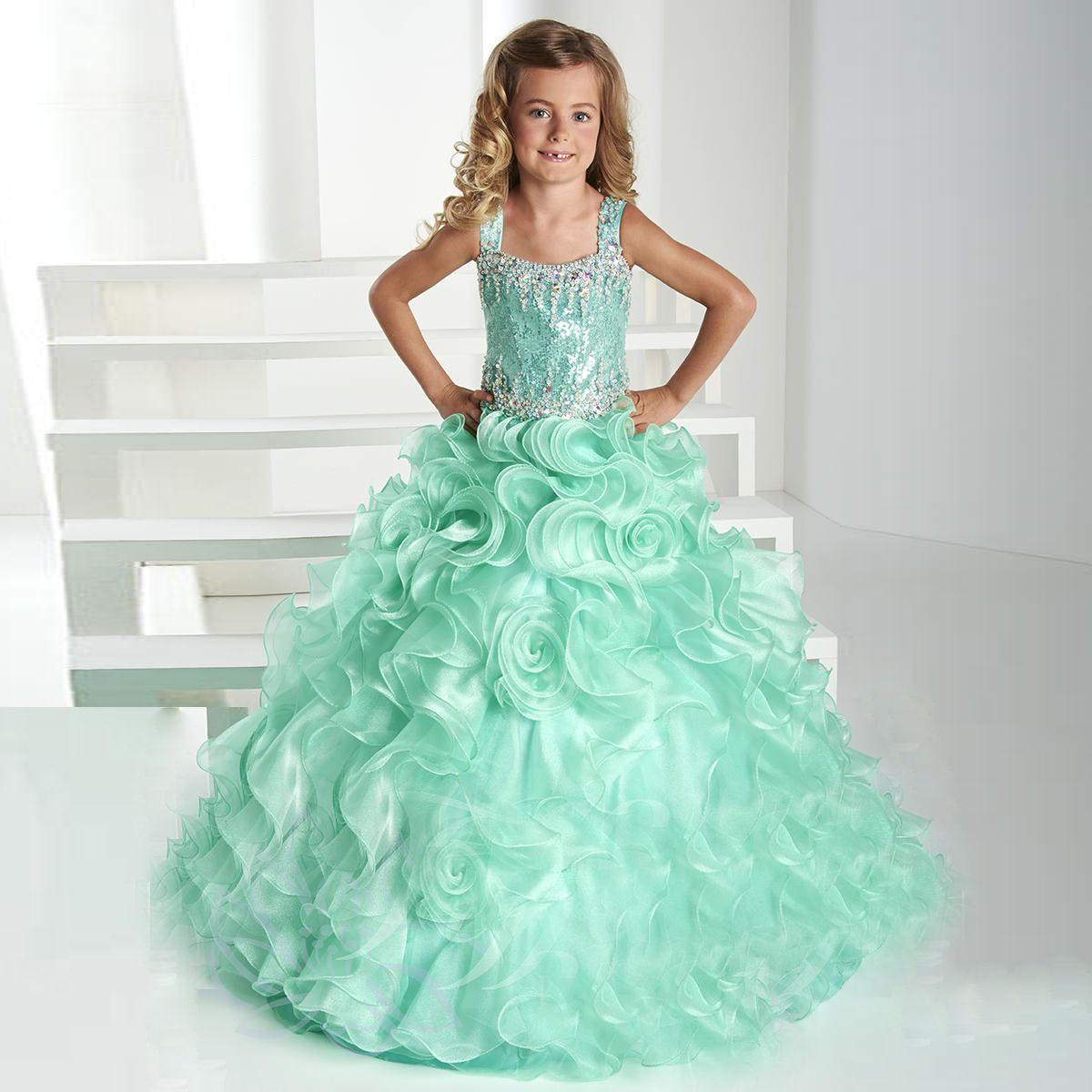 Ruffles Ball Gown Girls Pageant Dresses Spaghetti Straps Kids ...