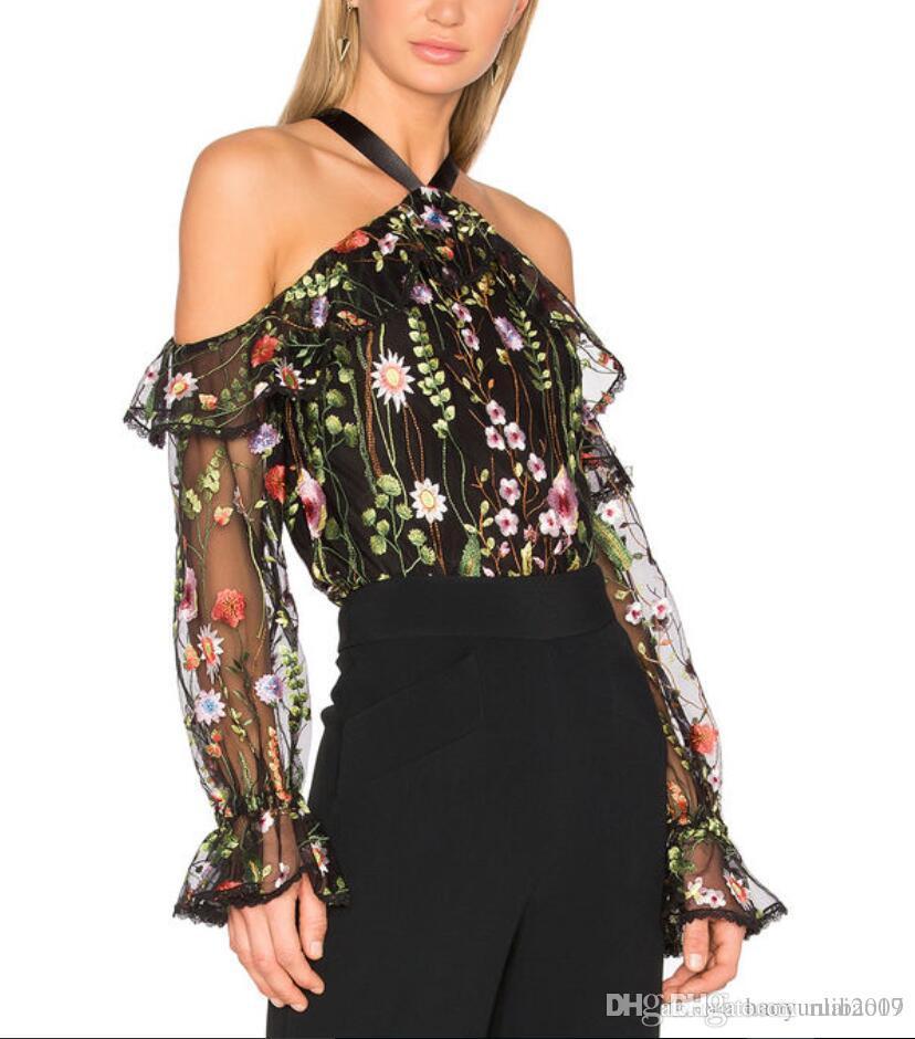 8a9b5309f403b Compre Las Mujeres Sexy Slash Neck Ruffles Bordados De Flores Camisas De  Malla Negro Tops Transparentes De Hombro Halter Lace Up Blusas Ladies Top A   16.59 ...