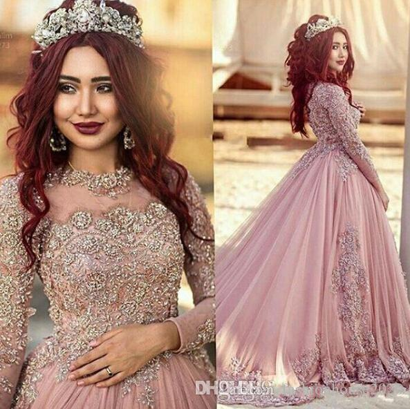 2017 Hot Sexy Arabic Prom Dresses Jewel Neck Illusion Lace Appliques Crystal Beaded Long Sleeves Plus Size Formal Party Dress Evening Gowns