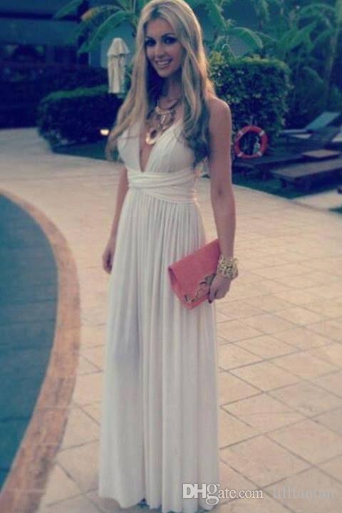 Elegante gasa de marfil vestidos de baile profundo cuello en V vestidos de festa robe de soirée maxi vestido formal de las mujeres del partido de los vestidos de los vestidos con pliegues