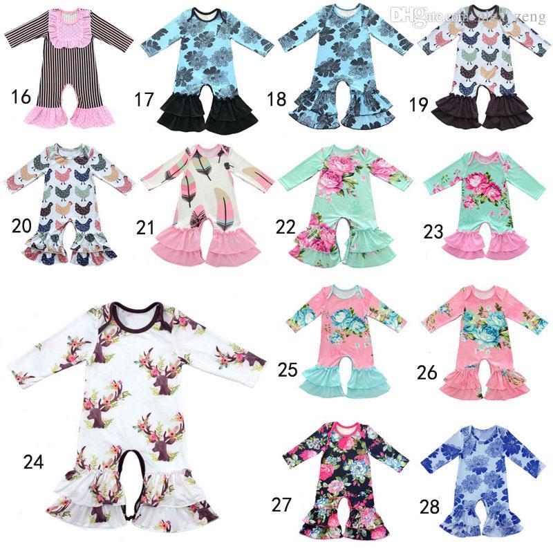 30 Style Bébé De Noël Pyjamas One Piece Bébé Filles Barboteuses Floral Combinaison Bébé Manches Longues Romper Girl Boutique Vêtements Onesies