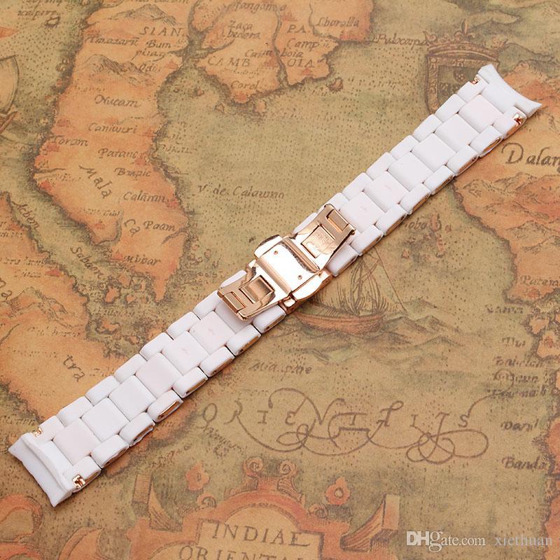 nouveau bracelet en caoutchouc wrap sangles en acier inoxydable blanc et or rose pour homme 23mm femelle 20mm bracelet bracelet de mode nouvelles ceintures élégantes