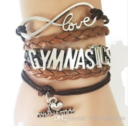 drop shipping hot Mixed colors Gymnastics Bracelet Gift for Sports Fans Lover Handmade Leather Braided Wrap Club Teams Cheering