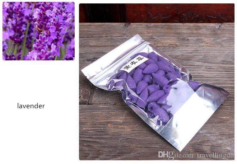100 teile / los Blume Weihrauch Sandelholz Räuchergeschmack Lilie Lavendel Rose Jasmin Osmanthus Zitrone Rose Rückfluss Weihrauch Zen Friedlich