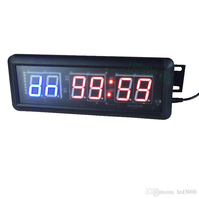 free shipping 1 5inch GYM Crossfit Timer LED Interval Timer Training Time  And Rest Time Alternate CountdownCount up As A Stopwatch