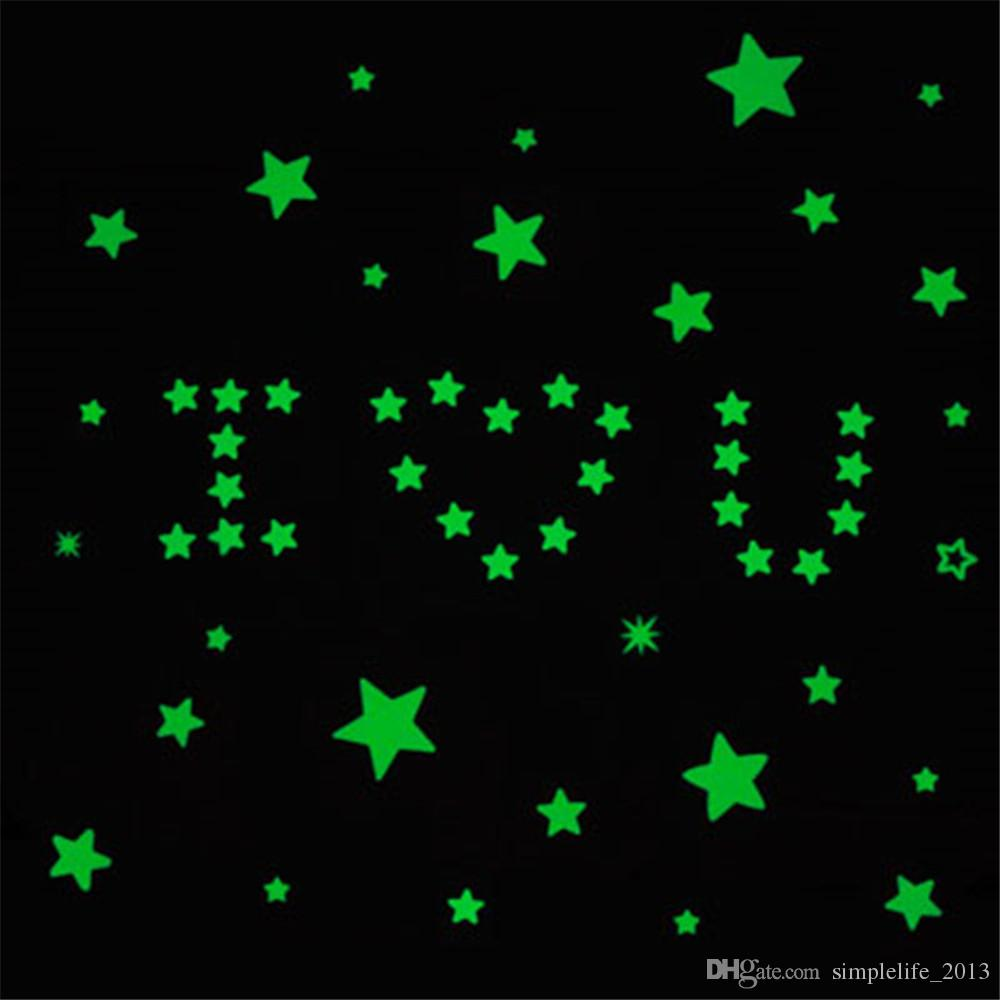 Pack 3d Glow In The Dark Star Luminous Decal Sticker Bedroom Room Home Wall Roof Ceiling Art Deco Fluorescent Mixed Color Green E Stickers