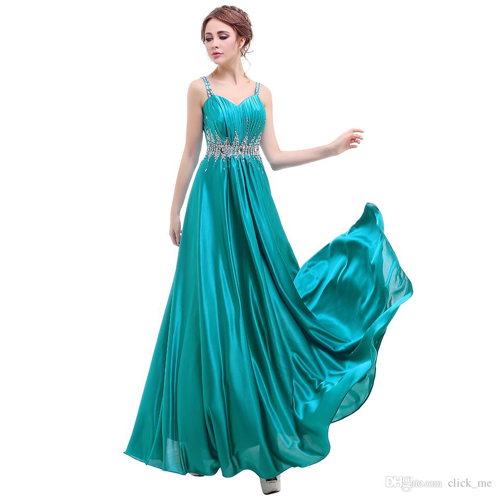 Cheap Spaghetti Strap Prom Dresses With Sash Sequins Crystals A Line Formal Cocktail Dress Evening Gowns For Party