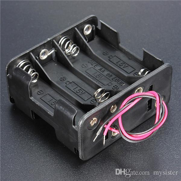 Hot Sale Plastic 12 Volt 12V Battery Clip Slot Storage Holder Box Case 8 AA Batteries Stack 150mm Leads Wire