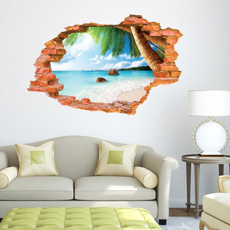 3d beach sticker wall backdrop stickers removable wall stickers pvc