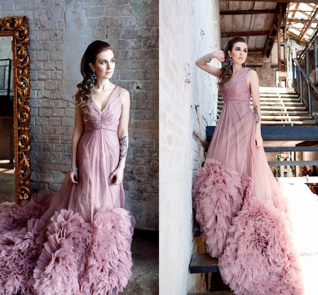 Dusty Rose Pink Prom Dresses 2016 V Neck Sleeveless Tiered Tulle Ruffles Sweep Train Evening Gowns Custom Made Formal Party 2015