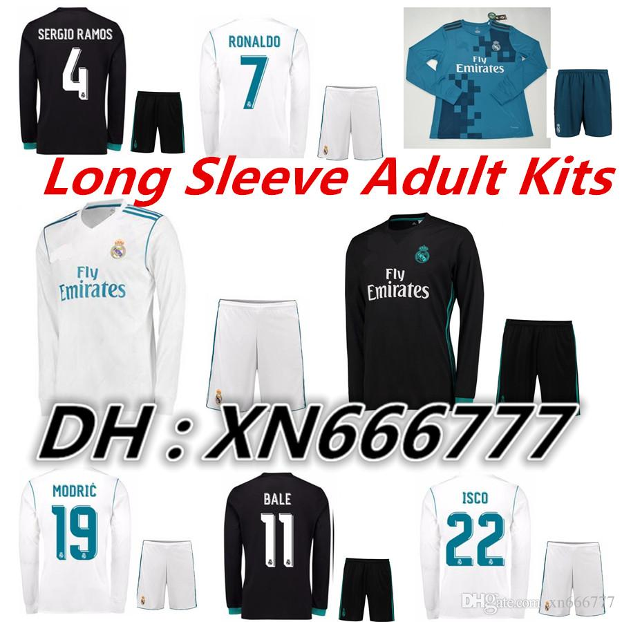 63b9be7d9 ... Karem Benzema Real Madrid Adult Kits 17 18 Long Sleeve Home Away 3rd Soccer  Jerseys 2017 2018 Ronaldo ...