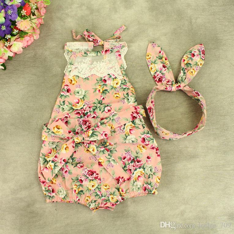 INShot baby girl toddler Summer clothes set outfits lace floral romper onesie bloomers diaper covers playsuits Cotton + Bow headband