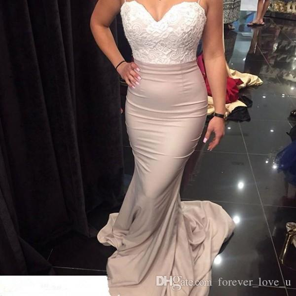 Popular Elegant Bridesmaid Dress Long Formal Backless Spaghetti Straps Evening Prom Party Gowns with Lace Top Sheer Train Fitted Gown