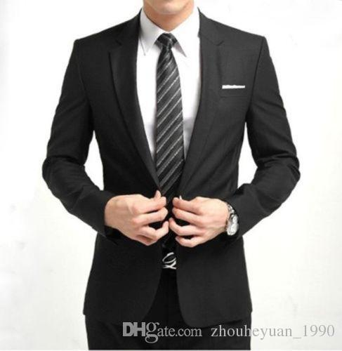 2017 New Men'S Black One Button Slim Fit Suit Fashion Dress Casual ...