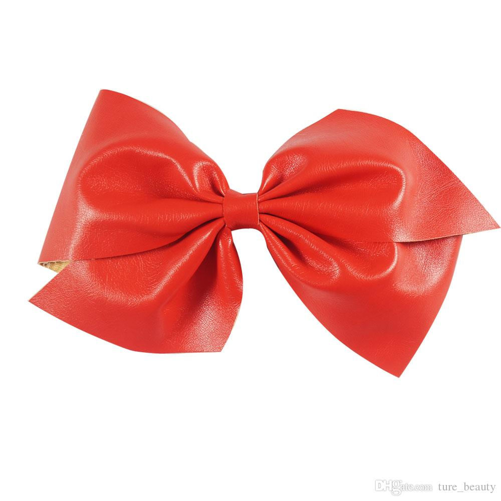 "6"" Big Leather Hair Bows For Sweet Girls Solid Hairbows With Alligator Clip High Quality Leather Hair Accessories /"