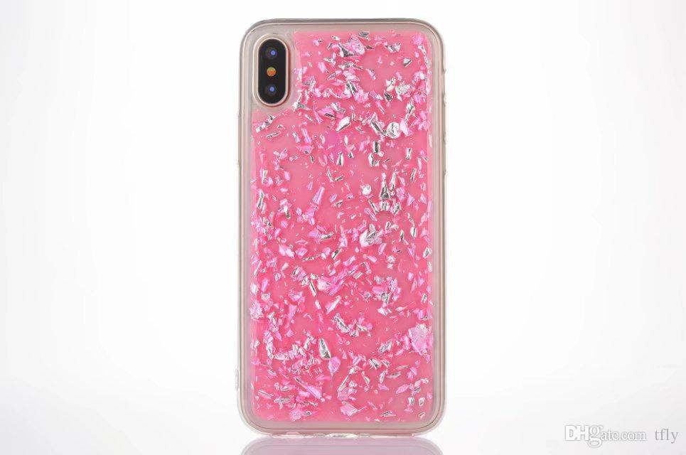 Cadeau de noël feuille d'or Glitter Bling Platinum téléphone cellulaire Goldleaf Silver Clear Soft TPU Couverture arrière pour iphone X 8 7 6 6S 5