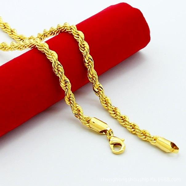 3MM 4MM 5MM 24K Gold Plated Stainless Steel Necklace Chain Rope MENS 3MM 4MM 5MM 24K Gold Plated Stainless Steel Necklace Chain