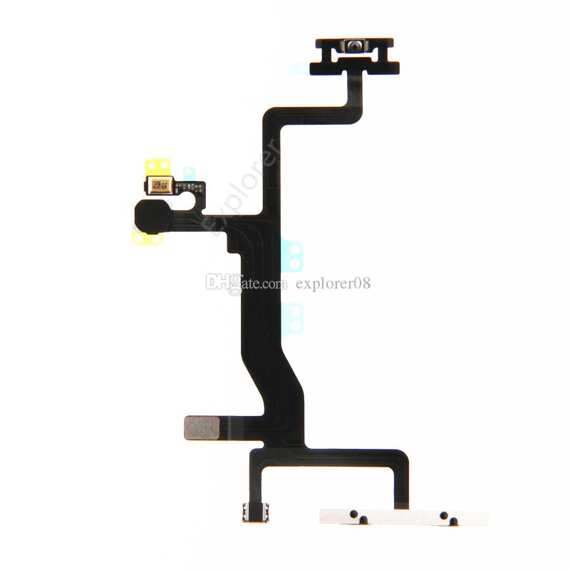 NEW For Iphone 6S 4.7 inch Power ON Off Volume Mute Control + Microphone + Flash Lens Flex Cable with metal bracke Replacement Part