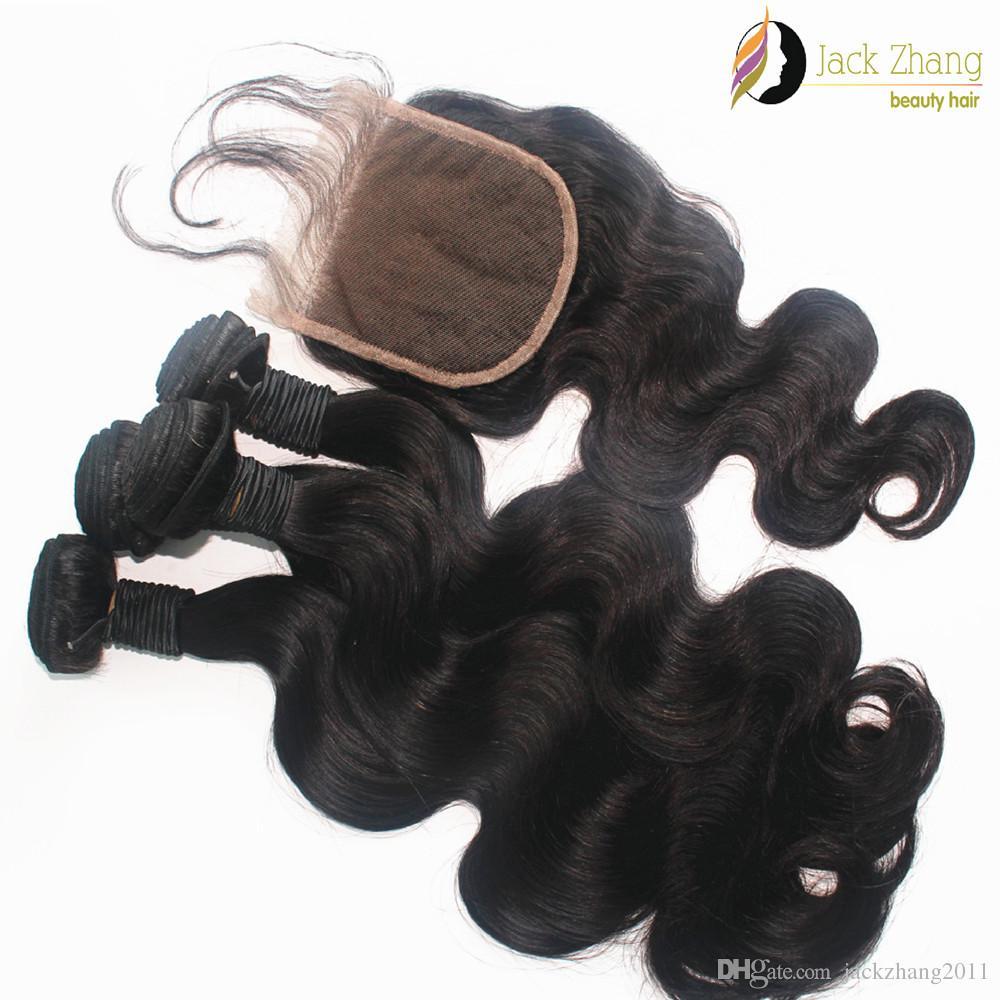 الشعر الهندي لحمة إغلاق الرباط مع مختلطة نسج الشعر الأسود الطبيعي موجة الجسم غير المجهزة بشرة الشعر التمديد الإنسان