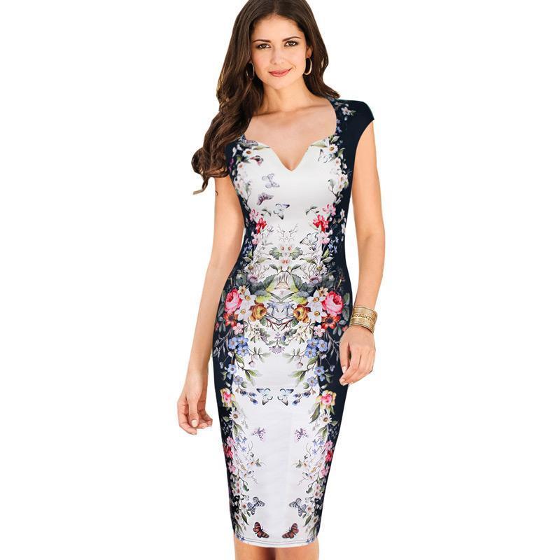 Frauen-Sommer-Kleider Elegante Blumenschmetterlings-Druck-reizend  Pinup-Kappen-Hülse beiläufige Partei Bodycon Mantel-Kleid 200