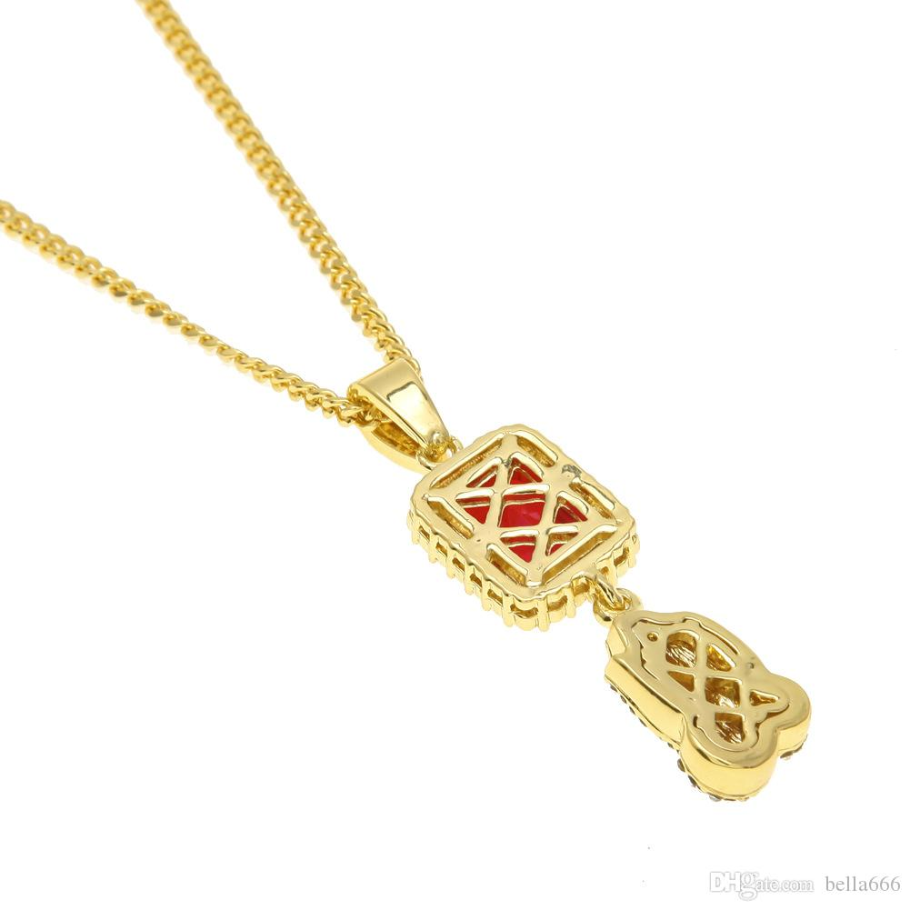 Fashion Men Hip Hop Red Gem Praying Hands Pendant Necklace Gold color Red Square Ruby Necklaces Rapper Rhinestone Charm Prayer Punk Jewelry