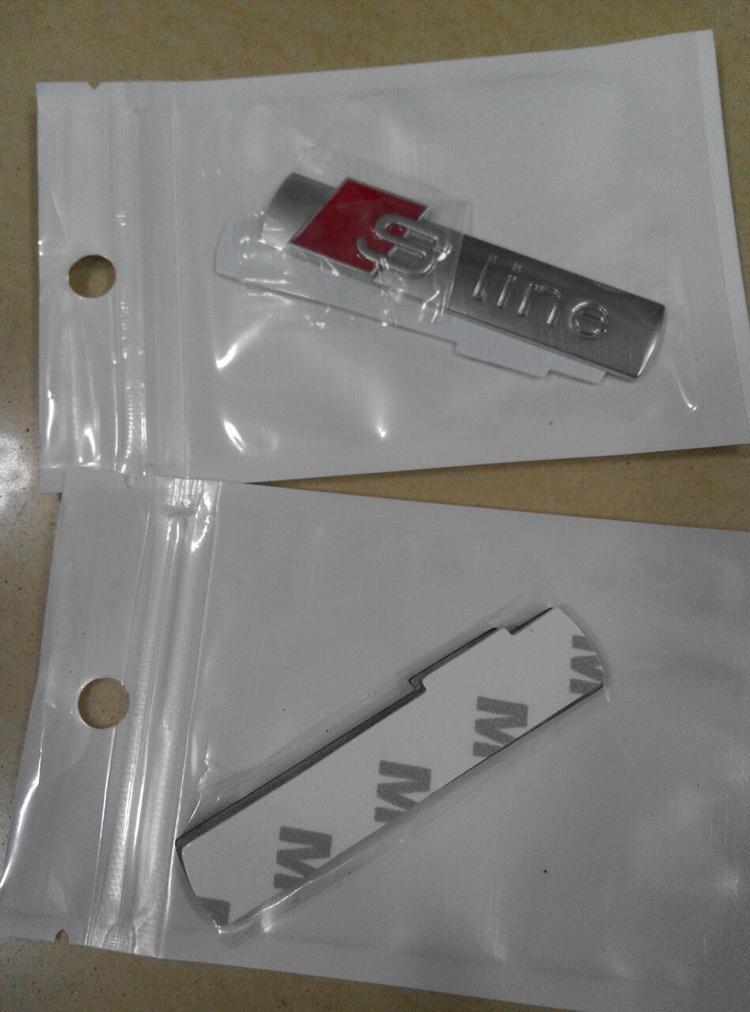 10 шт./лот высокое качество 3D черный / серебристый / матовый серебро и матовый металл s линия автомобиля крыло эмблема знак наклейка для audi A4 A6 Q5Q7A3A5A4LA6LA8L