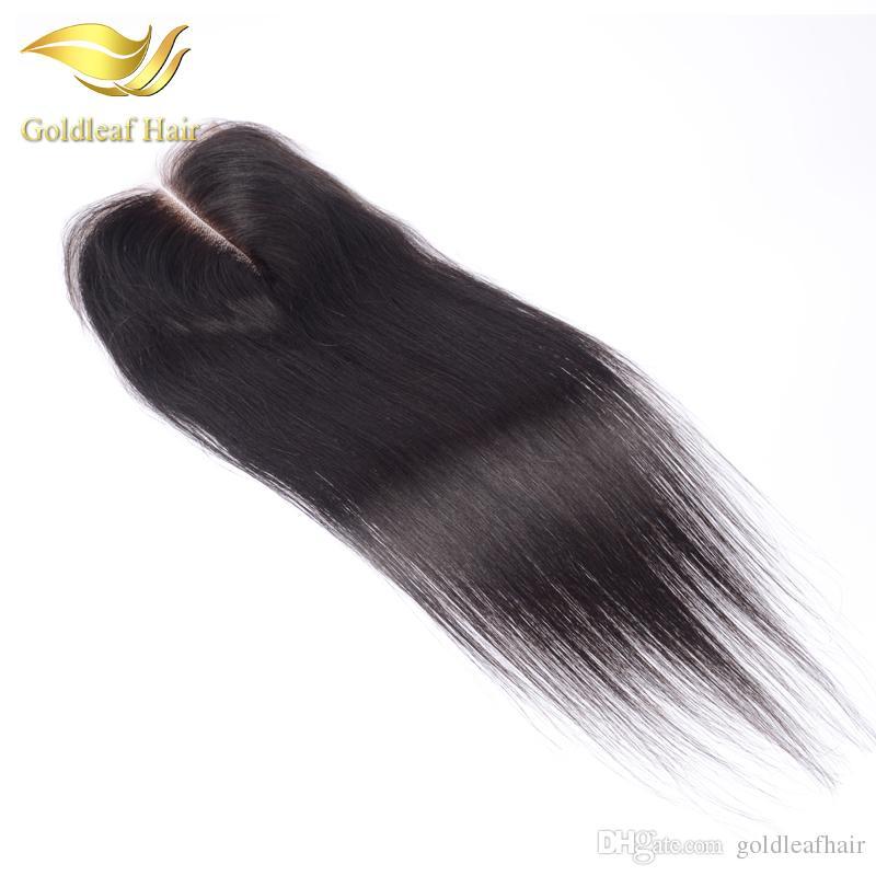Bleached Knots Medium Brown Lace Closure Brazilian Human Hair 4x4 Straight Lace Closure Free Middle Three Part Peruvian Malaysian Closure