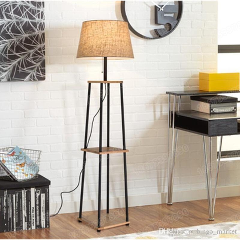 2018 Modern Creative 3 Layer Simple Style E27 Wood Fabric Floor Lamp ...