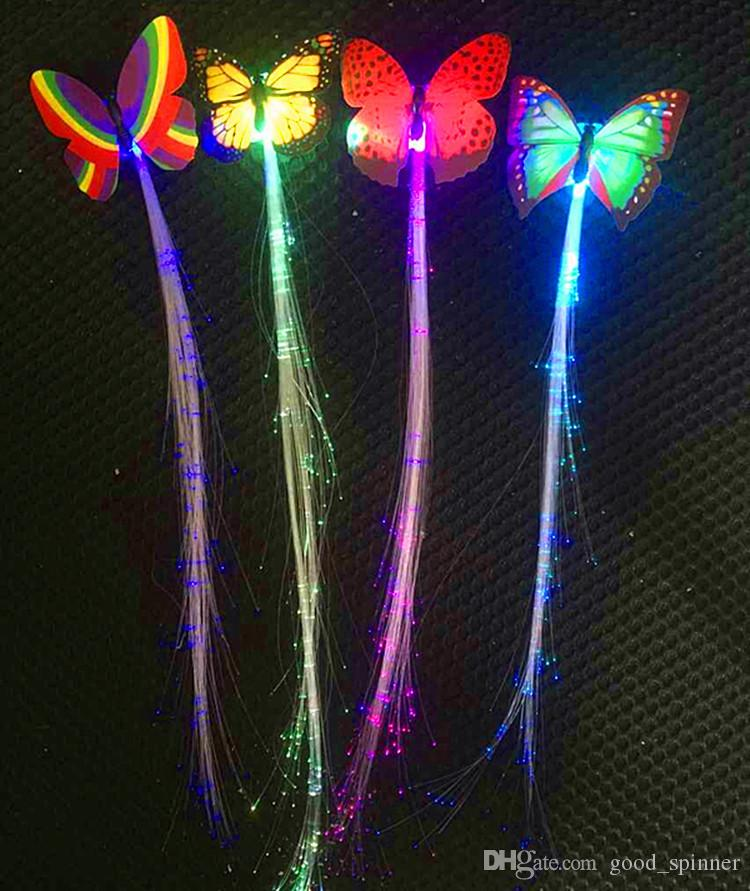 Parrucche colorate LED Glowing Flash farfalla LED Hair Braid Clip Hairpin Decoration Ligth Up Mostra materiale feste di Pasqua Halloween Christmas
