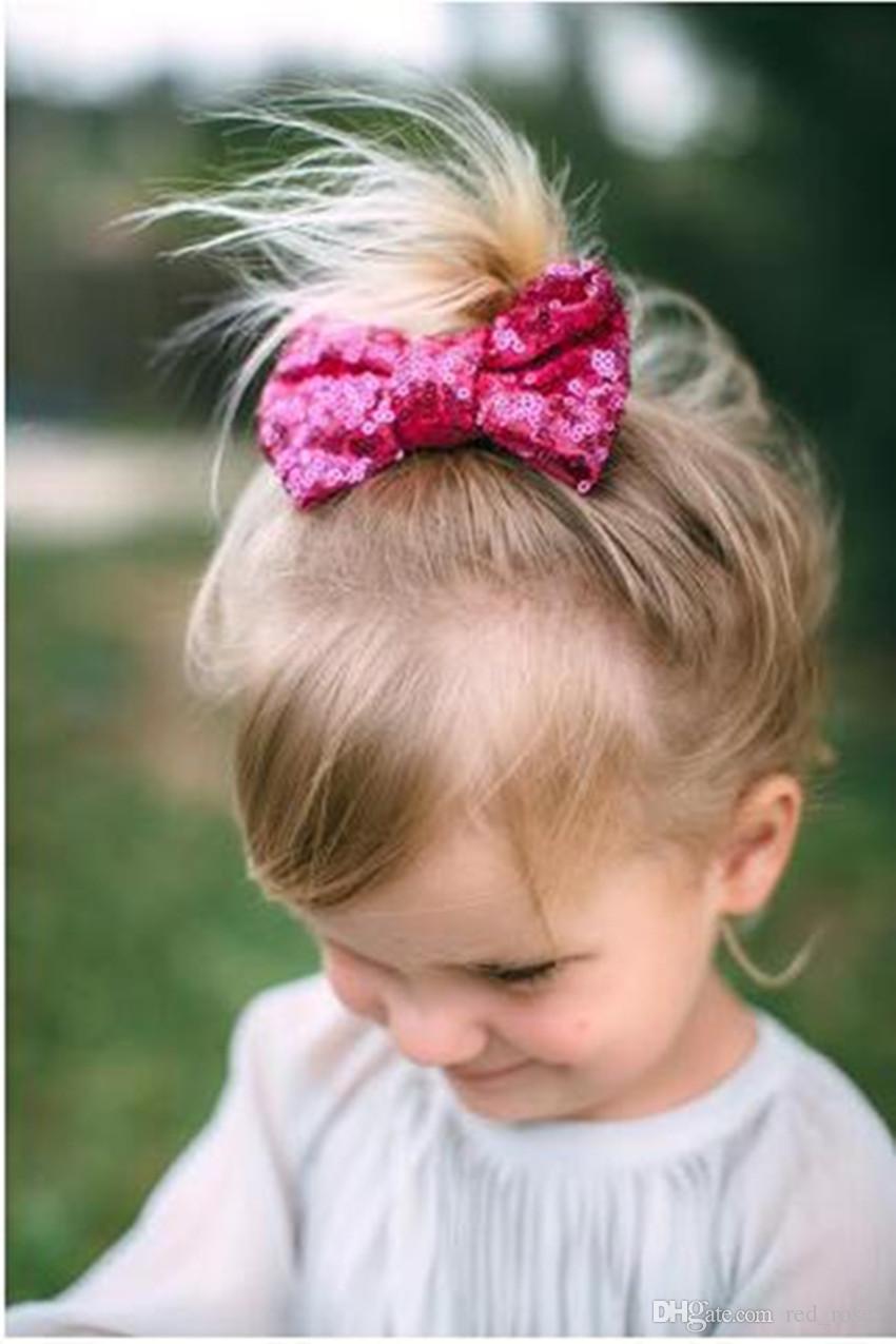 11 Couleur Nouveaux enfants européens et américains enfants paillettes Pince à cheveux grand arc mignon bébé fille bijoux gros accessoires de cheveux