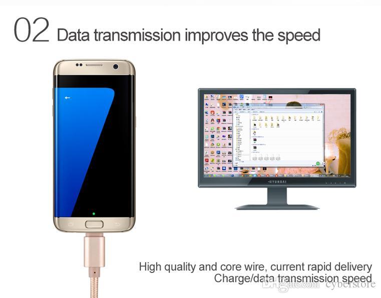 1M 3ft Hochgeschwindigkeitsvergoldung Metall-Nylon-Linie USB-Datenkabel Micro-Ladekabel für Android-Handy Samsung HTC Schnelles Ladegerät Cyberstore