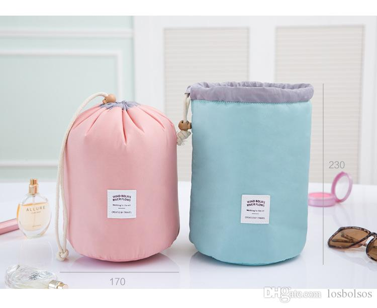 toiletry bag waterproof barrel travel wash bags large capacity cosmetic bags make up bag organizer storage bag neceser trousse de maquillage from