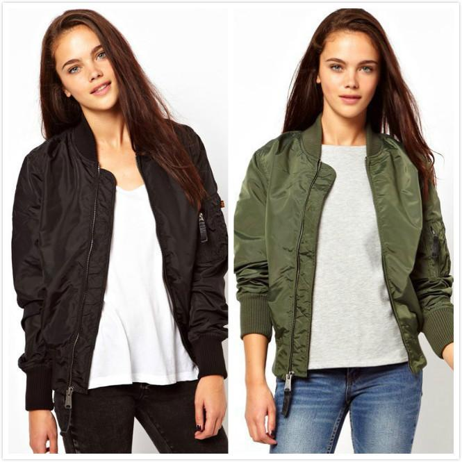 9ba275f802 Giacca da pilota donna bomber giacche moda donna sottile verde militare  caost