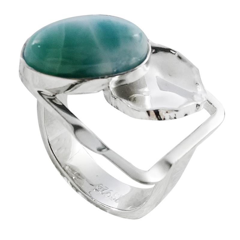2018 Larimar Ring For Woman 925 Silver Jewelry Handmade Fine Jewelry