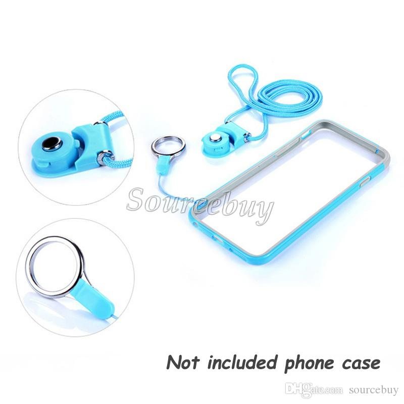 Universal Multi-function Rotatable Rope Long Design Buckle Plastic Rope Cell Phone Ring Strap Lanyard Hangings Rope For iphone Android phone