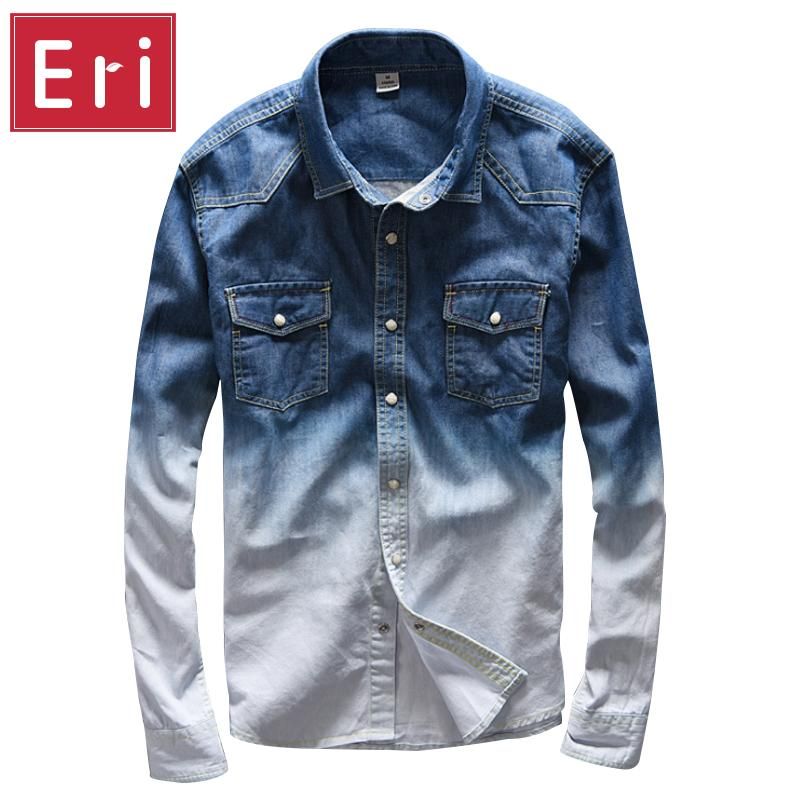 Man In Overhemd.2019 Wholesale 2017 New Radient Color Jeans Shirt Men Casual Brand