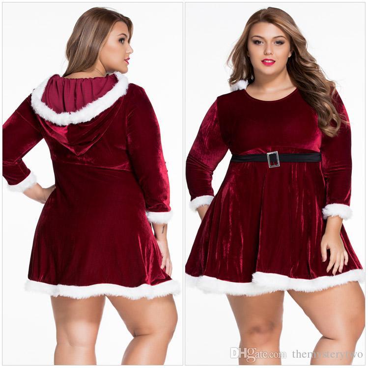Buona qualità Plus Size Velluto sexy Lingerie di Natale Vepour Nightdress Cintura a maniche lunghe Babydoll Underdress le donne XXL