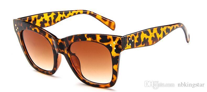 Senhoras Retro Rebite Olho De Gato Óculos De Sol Das Mulheres Design de Moda Da Marca Do Vintage Oversized Big Frame Óculos De Sol Para O Sexo Feminino 10 Pçs / lote