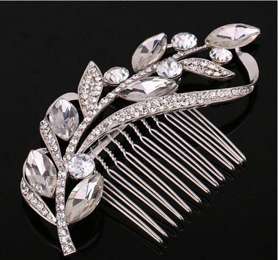 Урожай лист хрустальные серебряные свадебные волосы Combs Hairpin Tiara свадебные аксессуары для волос для волос ювелирные изделия свадебные головки