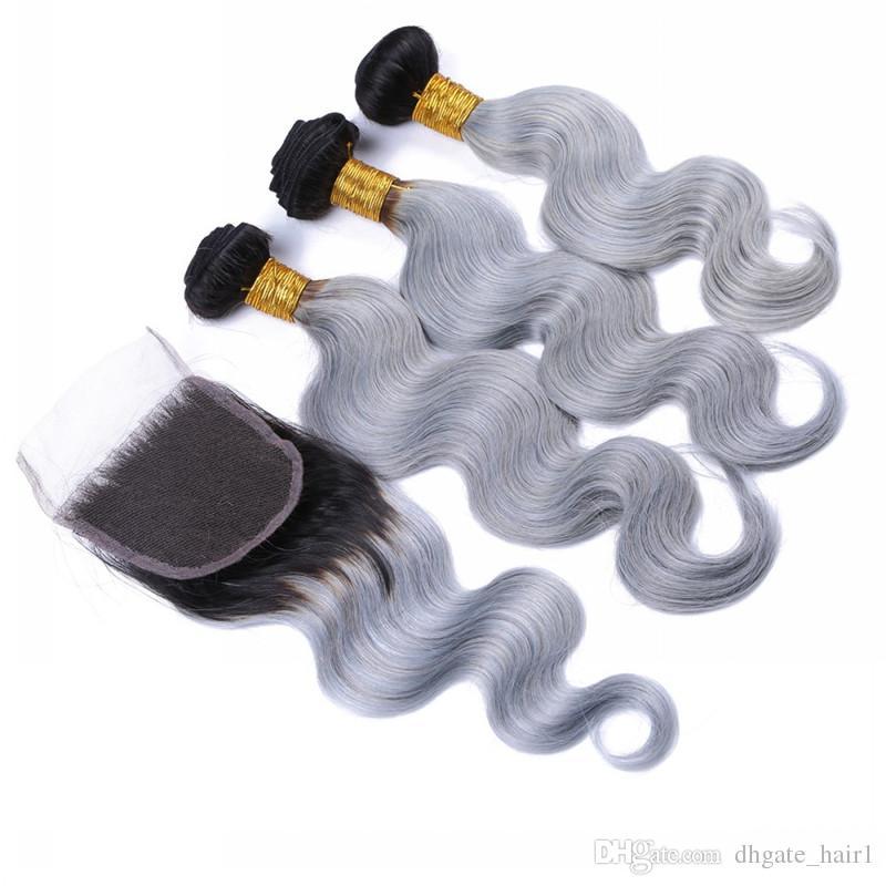 Brésilien argent gris Ombre cheveux Bundles avec fermeture à lacets foncé racine 1B / gris Ombre 4x4 fermeture à lacets avant avec tissages