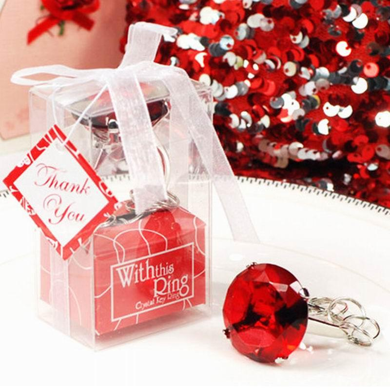 Accueil Party Favors Cadeaux Cristal Diamant Bague Forme Porte-clés Clé Bébé Mariée Douche Baptême Faveur De Mariage Bomboniere