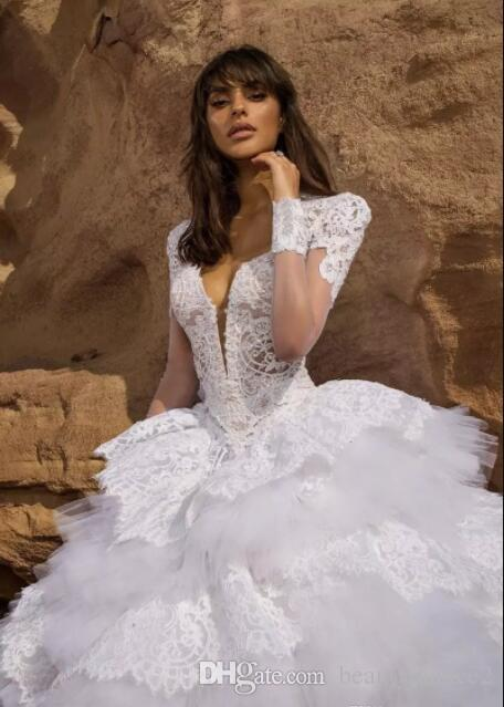 Robes de mariée en dentelle blanche de boule avec cristal brodé manches courtes Keyhole dos volants en dentelle Tulle Robes de mariée